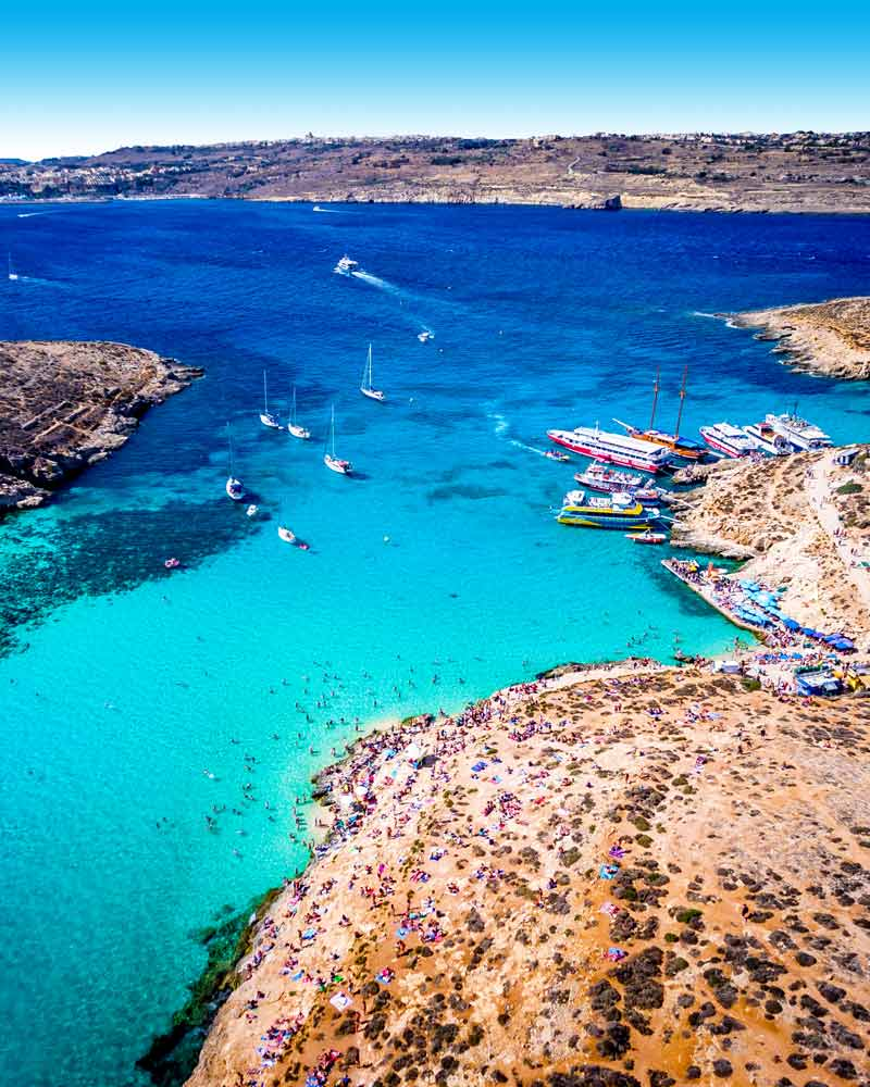 An aerial view of the Blue Lagoon, Comino.