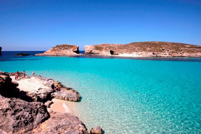 The crystal clear waters of the Blue Lagoon in Comino